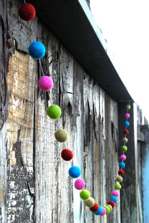 Christmas Felt Ball Garland, Pom Pom Garland, Nursery Decor, Bunting Banner, Party Decor, Baby Shower