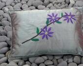 Silk Pillow Green Silk Cushion Applique Felt Purple Clematis Flowers