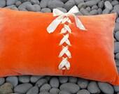 Tangerine Pillow Orange Velvet Cushion with Cream Satin Lacing Decorative Velvet Pillow Unique Accent