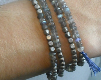 Labradorite Wrap Bracelet Necklace Blue Beaded Gemstone Boho Wrap Bracelet