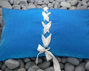 Blue Velvet Pillow Cushion Deep Colored Turquoise with Cream Satin Lacing