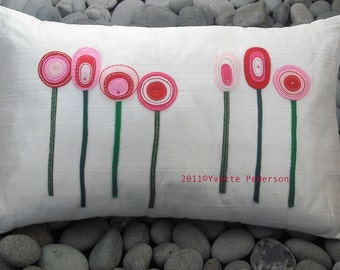 Silk Pillow White with Appliqued Red and Pink Felted Flowers and Swarovski Crystal Beads