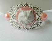 Cat lovers bracelet silver cuff