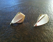 Vintage Geometric Gold and Cream Earrings