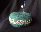 Hand Knit, Felted and Embellished Wool Pin Cushion