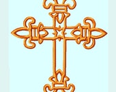 Fleur De Lis Cross Embroidery Designs  INSTANT DOWNLOAD