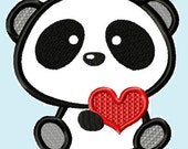 Cute Love Panda Bear with Heart Applique Embroidery Design   INSTANT DOWNLOAD
