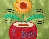 Solar power Flower APPLIQUE Embroidery Designs 2 sizes  INSTANT DOWNLOAD