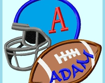 Football with Helmet Personalized Applique Embroidery Design,  2 sizes  INSTANT DOWNLOAD