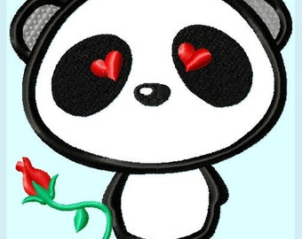 Cute Love Panda Bear with Rose Applique Embroidery Design   INSTANT DOWNLOAD