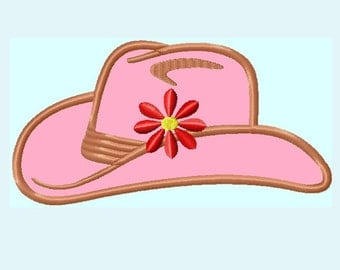 Cowgirl Hat APPLIQUE Embroidery Design,  3 sizes   INSTANT DOWNLOAD