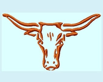 Longhorn  Embroidery Designs 3 sizes        INSTANT DOWNLOAD