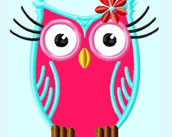Cute Pink and Blue  Owl Applique Embroidery Design   INSTANT DOWNLOAD