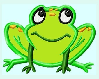 Cute Frog APPLIQUE Embroidery Design INSTANT DOWNLOAD