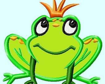 Cute Frog Prince APPLIQUE Embroidery Design INSTANT DOWNLOAD