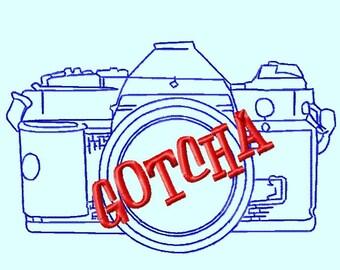 GOTCHA Camera Outline Embroidery Design    INSTANT DOWNLOAD