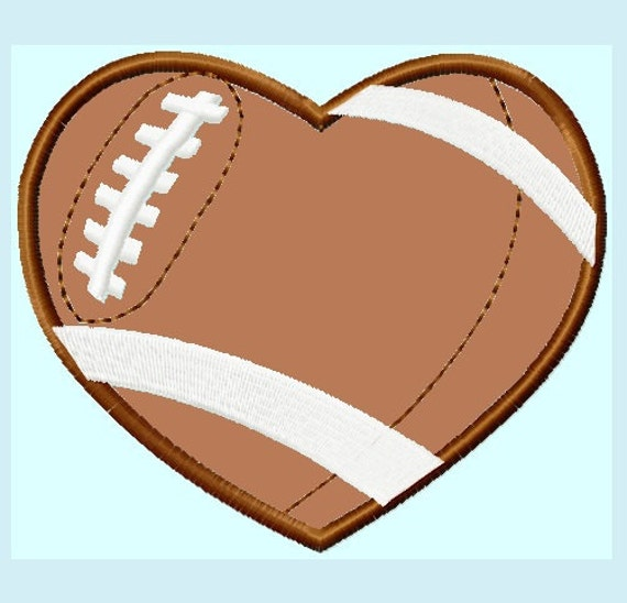 Football Heart Applique Embroidery Designs 7 sizes,    hoops 4x4 5x7 6x10  INSTANT DOWNLOAD