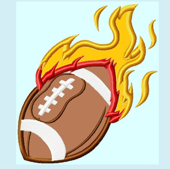 Football on Fire Applique Embroidery Designs   INSTANT DOWNLOAD