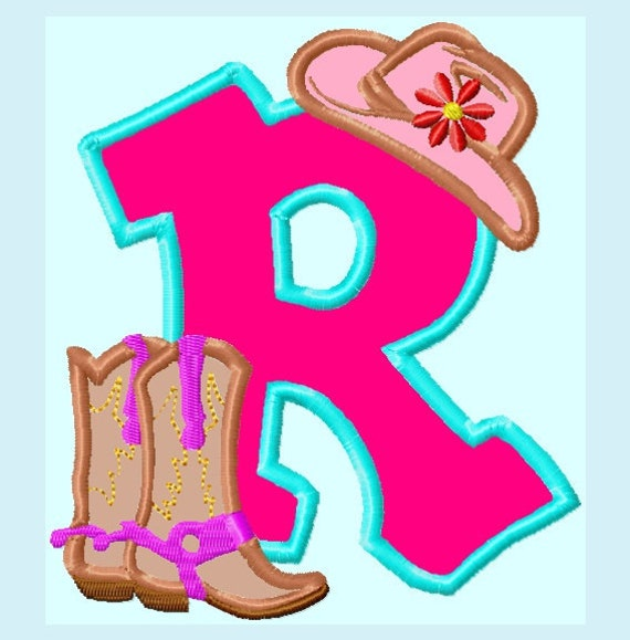 One Font Cowgirl Boots and Hat APPLIQUE Embroidery Design