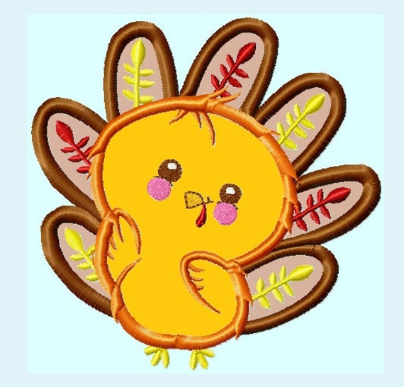 Items similar to Cute Baby Turkey Applique Embroidery ...
