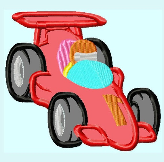 Items Similar To Race Car Applique Embroidery Design Instant