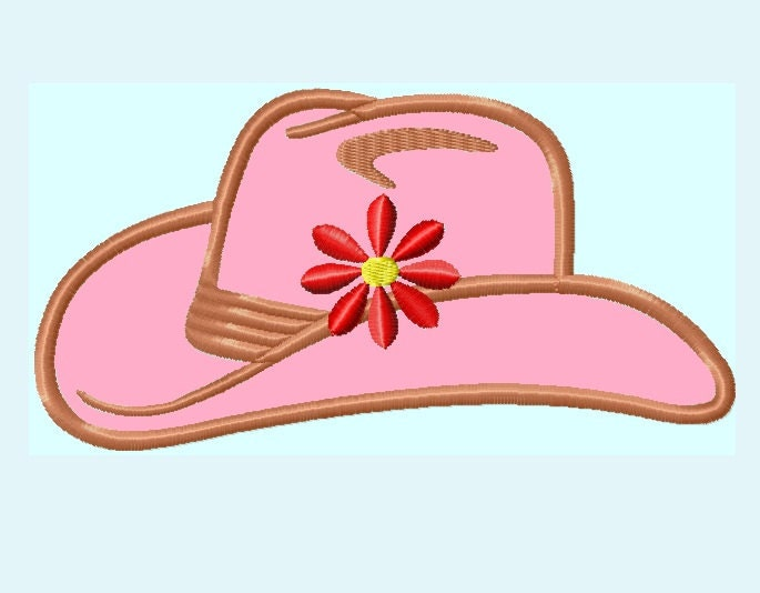 Cowgirl Hat APPLIQUE Embroidery Design 3 sizes INSTANT