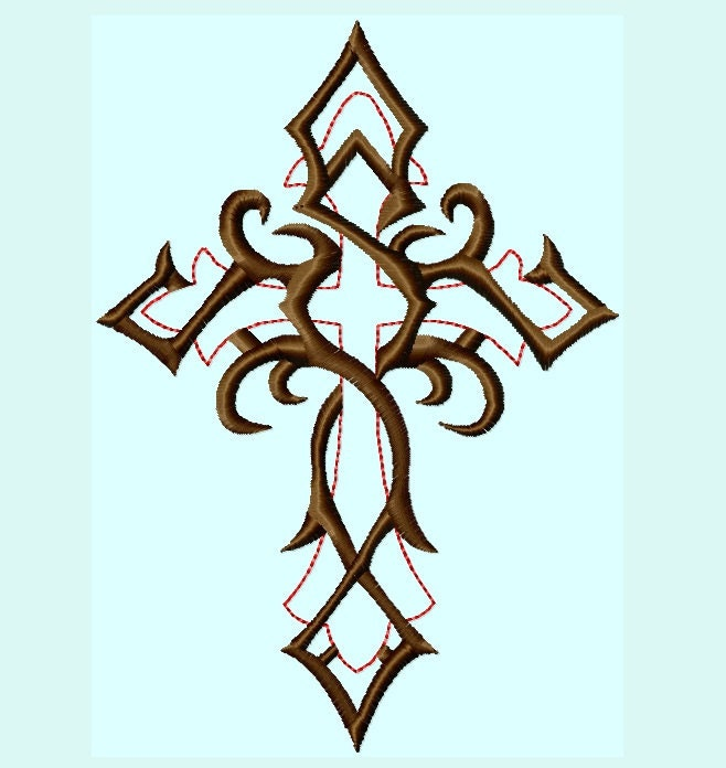 Tattoo Designs Download: Fancy Cross Embroidery Designs INSTANT Download