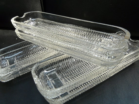 Corn on the cob dishes, plates, glass, vintage, set of eight