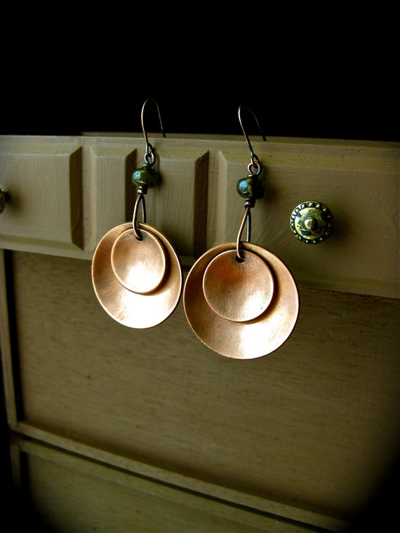 Flying Saucers Copper Disc Earrings