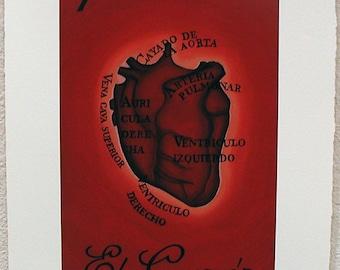 El Corazón,The Heart, Loteria Art Print