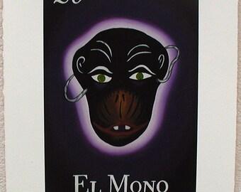 El Mono, La Máscara de Mono, The Monkey, The Monkey Mask, Loteria Art Print