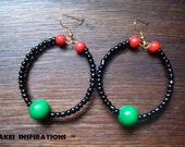 Red Black and Green Hoop Earrings