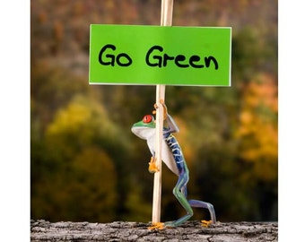 Go Green, Live Frog Protest Sign, Protester, Environment