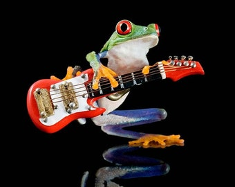 Electric Frog, Real Live Frog and Miniature Guitar, Fender, Wall Art