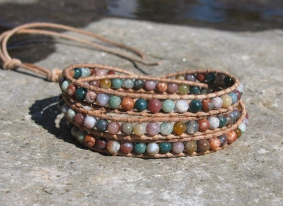 Dirty Dances With Wolves - Chan Luu inspired 3 x wrap bracelet on natural leather with jade beads