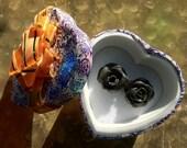 Handmade Clay Rose Earrings - Black