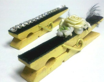 Victorian Vintage Gem Embellished Clothes Clips Yellow and Black Set of 2