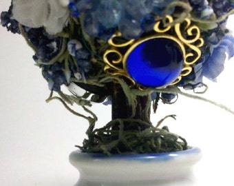 Vintage Spring Gem Blossom Garden Topiary Loaded With  Blue And White Gems