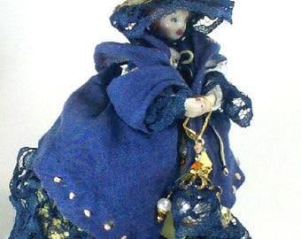 Lil' Miss Blue Bonnet Ann Butters Vintage Gemmed Dressable Miniature Porcelain Ornamental Doll
