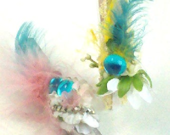 Vintage Lavished and Laced Feathered and Sparkling Gem Frilled Embellishments on Set of 2 Summer Fun Clothes Clips