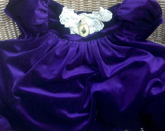 Vintage Embellished Royal Purple Velvety Childs Gown Repurposed Shabby Chic Toss Pillow