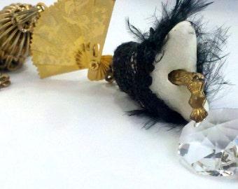 Crystal Head Porcelain Female Torso in Black Feathered Lace Lingeried  w/ Dangling Vintage Gold Folding Fan Tassle