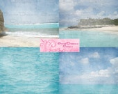 CARIBBEAN BLUES Digital Scrapbooking Papers-- Four 12x12 Beautiful Background Papers