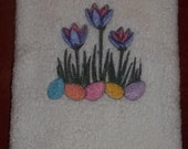 Embroidered Crocus Flowers and Easter Eggs on White Terry Towel