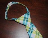 Childs Neck Tie - Green & Blue Pattern