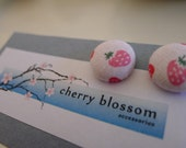 Strawberry Fabric Button Earrings
