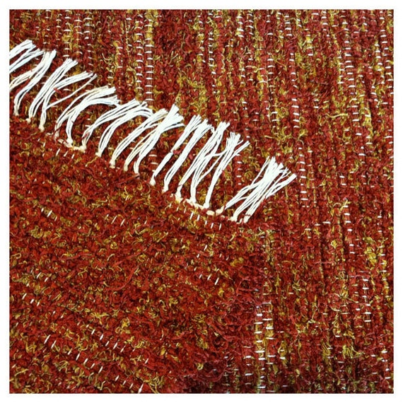 """Handmade Rag Rug - Rust and Yellow Gold - 24"""" x 36"""" (Reserved)"""
