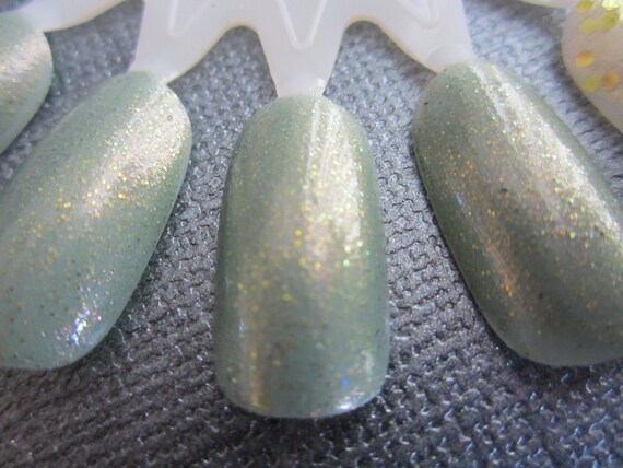 Misty Rocks- Textured Aqua and Gold Glitter Polish