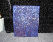 "Fireworks Shimmer on Blue 16""x20"" Painting"