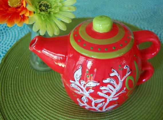 CLEARANCE SALE Cherry Vine Teapot for One